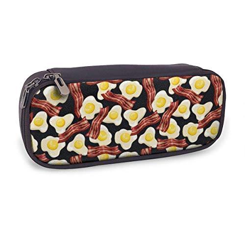 Pencil Case Pen Bag Bag Leder Langlebige Schüler mit doppeltem Reißverschluss Halter Box Organizer für Schulbüro Geschenk Spiegeleier Speck Muster