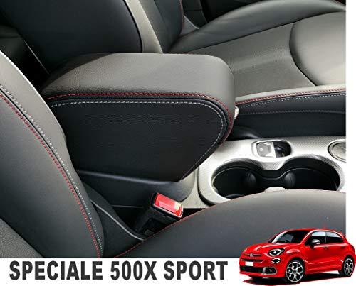 Bracciolo Fiat 500X ecopelle nero DOPPIE cuciture rosso e grigio chiaro REGOLABILE IN LUNGHEZZA Armrest mittelarmlehne