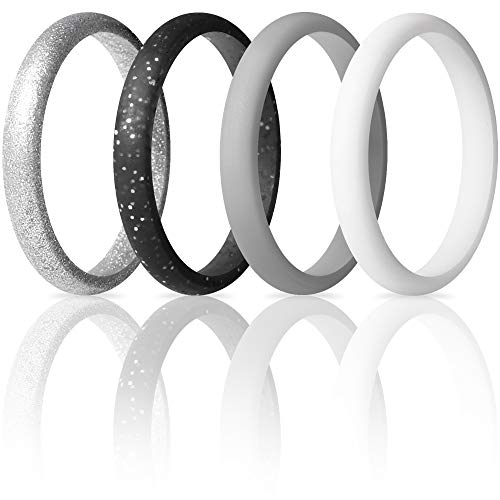 ThunderFit Womens Thin and Stackable Silicone Rings Wedding Bands - 4 Pack (Black Silver Glitter, Light Grey, White, Silver, 8.5 - 9 (18.9mm))