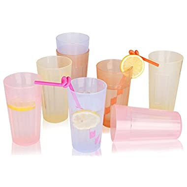 8 Sets Plastic Tumblers Cups Drinking Glasses for Kids Unbreakable Colored Juice Glasses Restaurant Picnic Glassware Outdoor Party Camping Drinkware Set BPA Free (4 colors, 8)