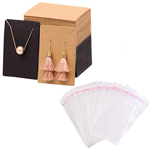 Rolin Roly 200 Stück Papier Schmuck Ohrring Display Karten mit 200 Stück OPP Cellophan Beutel Karte Ohrring Grafikkarten Schmuck Verpackung Karten