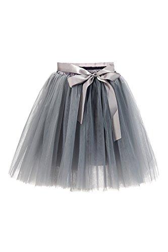 Babyonline® Damen Prinzessin Falten Rock Vintage Kleid Spitzen Rock Midirock Ballettrock Tüllrock Unterrock Knielang, Grau, One Size / Einheitsgröße