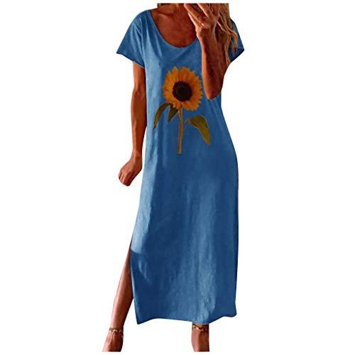 Kleider Damen Kleid Damen Sommer Brautkleid Abendkleider Sommerkleid Damen Lang Damen Kleider Sommer Sommerkleid Damen Knielang Sommerkleider Strandkleid Hochzeitskleid Boho Kleid(Blau,3XL)