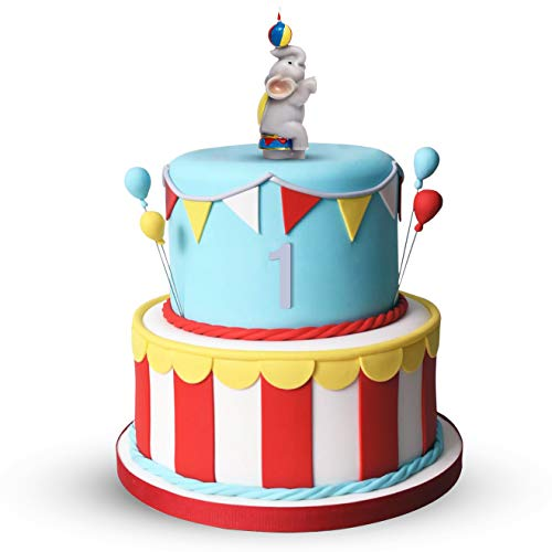 PureRejuva Elephant Carnival Cake Topper Candle- Handmade- Kids Circus Birthday Party- Cute & Colorful Decoration for Carnival Theme Party