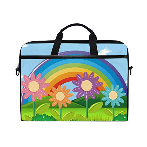 Laptop Sleeve Case,Laptop Bag,Cartoon Rainbow Colorful Flowers Water Briefcase Messenger Notebook Computer Bag with Shoulder Strap Handle,28.5×38 CM/14 Inch