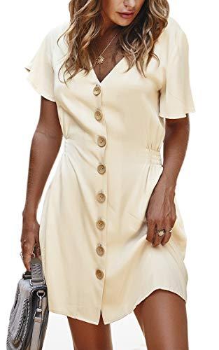 Spec4Y Damen Tunika Kleid Einfarbig Kurzarm Vintage Sommerkleid V Ausschnitt Elegant Partykleid Plissee Skaterkleid mit Knopf Weiß X-Large