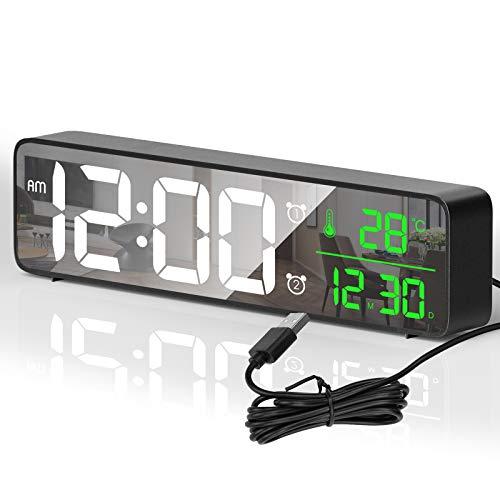 HOTERB Reloj Despertador Digital,Despertadores Digitales LED con 40 Melodias,2 Alarma,Temperatura y Hora,Digitos Grandes Reloj Digital Sobremesa Pantalla de Espejo para Dormitorio,Mesita