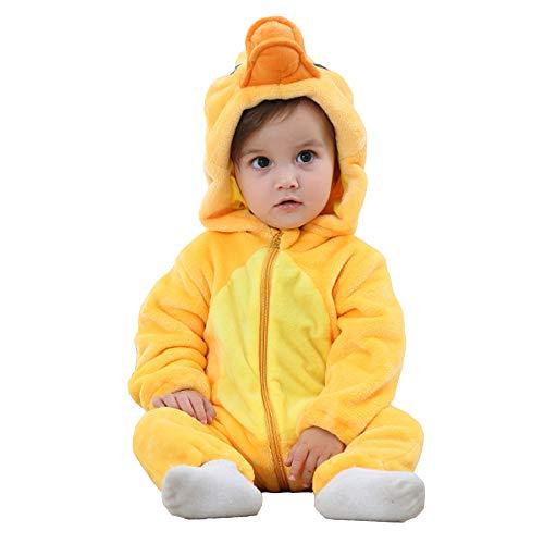 BaronHong Unisex-Baby Flannel Romper Cartoon Animal Onesie Pijamas Trajes Traje (Pato, 80 CM)