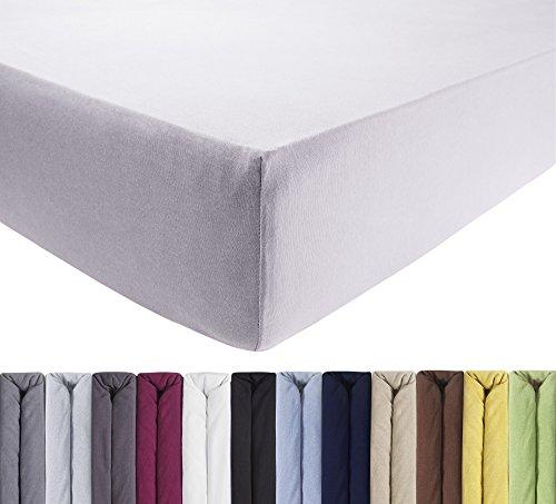 ENTSPANNO Jersey Spannbettlaken für Wasser- und Boxspringbett in Silber-Grau aus Baumwolle. Spannbetttuch mit Einlaufschutz, 180 x 200 | 200 x 200 | 200 x 220 cm, bis 40 cm hohe Matratzen