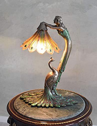 Tischlampe Jugendstil Frauenfigur Pfau Lampe Art Nouveau Leuchte IS265 Palazzo Exklusiv