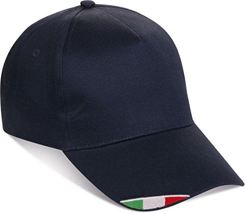 No brand Cappello Cappellino con Ricamo Tricolore Bandiera Italia Italiana Blu Navy