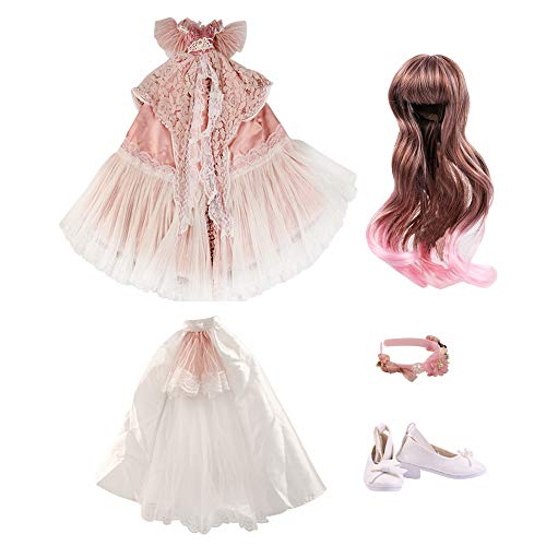 UCanaan BJD Dolls Clothes Set of 1/3 BJD Dolls Wigs Shoes Socks Accessories Full Set for 24inch 60cm BJD Dolls