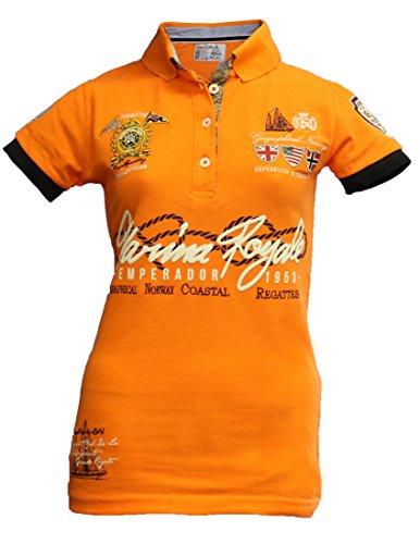 Geographical Norway Original Poloshirt für Damen - Modell: KIPAWA - Frauen - Stylisches Casual Kurzarm Polo Shirt für Freizeit - Sport - T-Shirt- Gr. M (Herstellergröße: 2), Orange