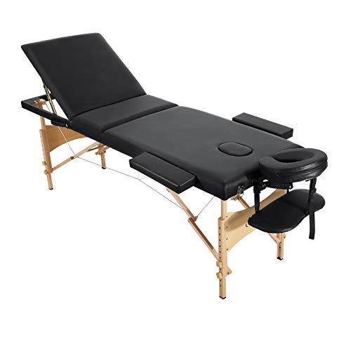Entil Massageliege Klappbar Kosmetikliege Massagetisch Behandlungsliege mit 3 Zonen Ergonomischer Holzfüße mit Gesichtsloch