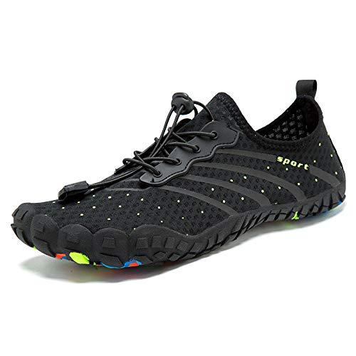 Aerlan Zapatos de Snorkel para Nadar,Suela de Goma Zapatos de Agua,Zapatos multifuncionales para Senderismo y natación al Aire Libre-Negro_40