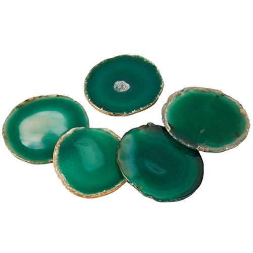 Nupuyai Set of 10 Polished Agate Slices Name Tags Place Cards for Wedding, Geode Agate Stones for Home Decoration