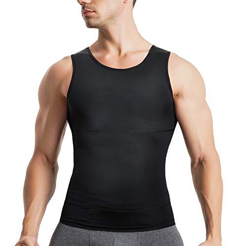 Bingrong Herren Kompressionsshirt Unterhemden Shapewear Bauch Weg Unterhemd für Männer Sport Tank Top Feinripp Muskelshirt Figurformend Body Shaper,Schwarz, S