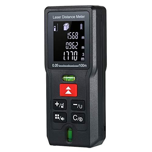 Telémetro láser, HD pantalla LCD con rango distancia de medida 0,05~40m±2.0 mm,IP 54 Prueba de Salpicaduras de Polvo y Agua,Adecuado para Medir Habitaciones,Apartamentos-100m