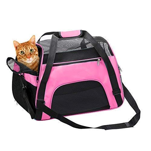 TIYOLAT Pet Carrier Bag, Airline Approved Duffle Bags, Pet Travel Portable Bag Home for Little Dogs, Cats and Puppies, Small Animals 40 x 20x 30cm (Pink)