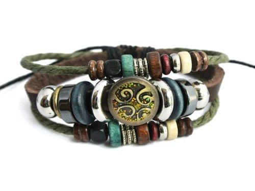 Agathe creation - Bracelet tibetain Porte Bonheur -Perle Tribal en métal - Cuir, Chanvre et Perles de Bois et métal - Multicolor - Fait Main