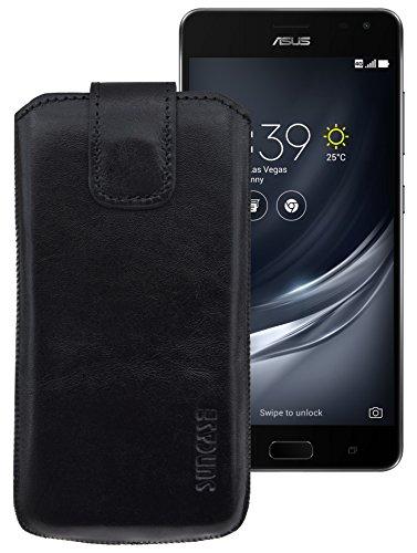 Suncase ECHT Ledertasche Leder Etui für Asus ZenFone AR Tasche (mit Rückzugsfunktion) in schwarz
