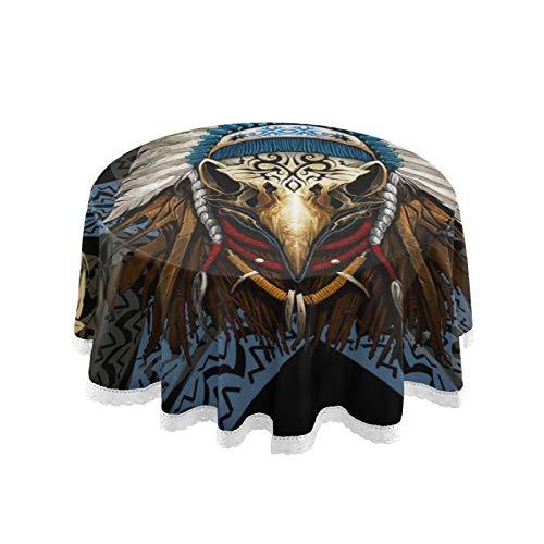 Mantel redondo de lino nativo americano, superposición de encaje con borde de encaje, para decoración de cocina, comedor, 152 cm