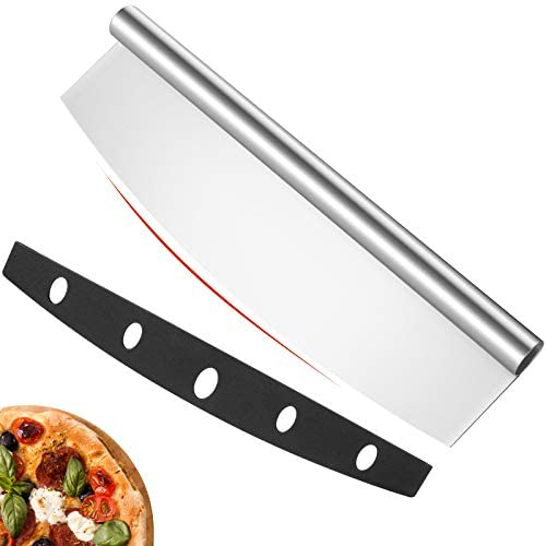 14 inch Pizza Cutter Rocker Slicer with Protective Cover Pizza Chopper Accessories Set of Sharp product image