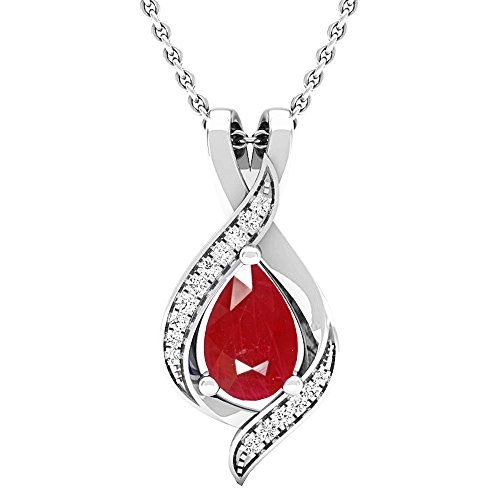 Dazzlingrock Collection 14K Pear 9X6 MM Lab Created Ruby & Round Diamond Ladies Teardrop Pendant, White Gold