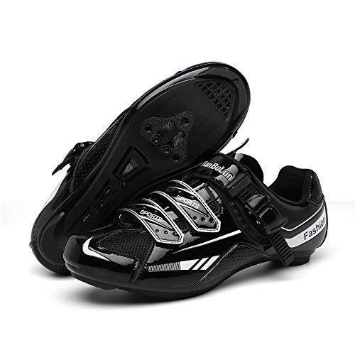 CHANGAN Zapatillas de Ciclismo para Carretera Plus, con Suela de Carbono y Sistema rotativo de precisión. Black-41