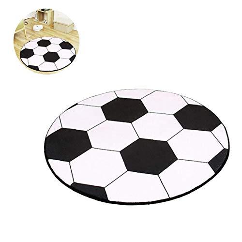 1 x niedlicher Cartoon-Fußball-Teppich, rund, für Kinder, für Couchtisch, Stuhl, Matte, kreatives Design, handgefertigter Teppich (80 cm).