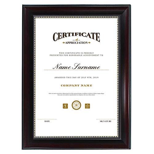 GraduatePro Bilderrahmen für Dokumente mit Passepartout Urkunden Zertifikat für Wohnzimmer Schlafzimmer Wand Dekor Modern zum Aufhängen Braun 21x29 cm