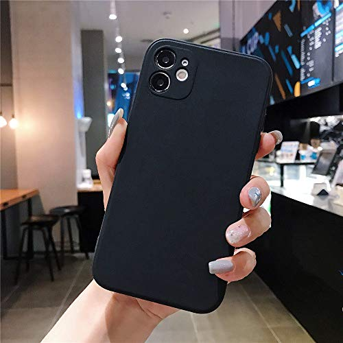 AAA&LIU Carcasa Cuadrada de Color Caramelo para iPhone 7 8 6 6s Plus Funda de TPU Suave y Simple para iPhone 11 Pro MAX X XS XR XS MAX, Negro, para iPhone XS