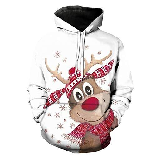 Pull Moche Noël Homme Pull Drôle Homme Avec 3D Rudolph Renne Flocon De Neige Unisexe Femme Christmas Sweat à Capuche Manches Longues Décontracté Sportif Pullover Hoodie Sweat Shirt Top (LMS-1595,4XL)
