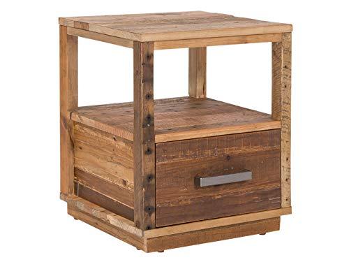 Woodkings® Nachttisch Woodville Holz rustikal Schlafzimmer Beistelltisch Nachtkommode Nako Design Massive Naturmöbel Echtholzmöbel mit Schublade (Rec. Pinie)