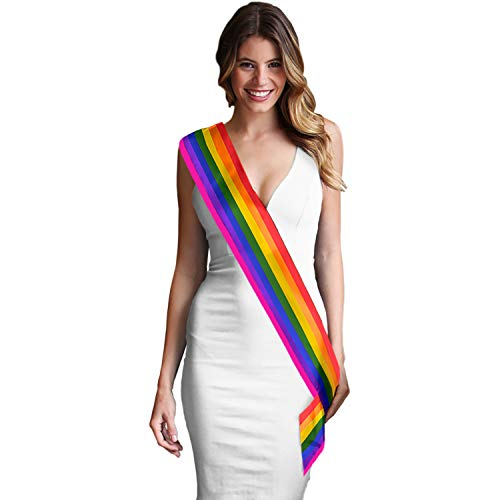 Rainbow Sash - Premium Quality Satin - DIY Blank Rainbow Gay Pride - LBGTQ Party Decorations & Supplies