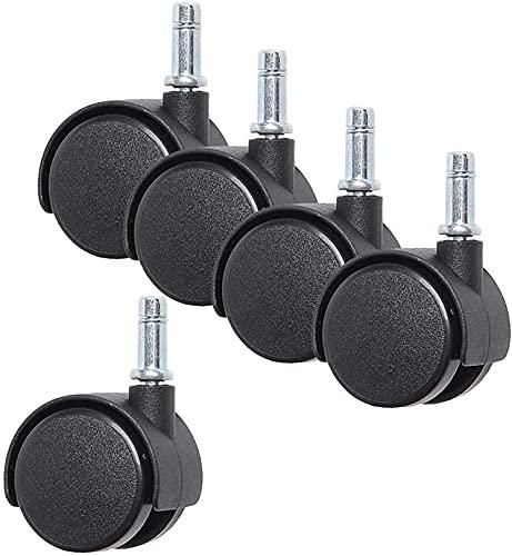 CAETNY Ruedas de 4/5 piezas, rueda giratoria de freno de 1 pulgada/1.5 pulg/2 pulg. con una barra de inserción, sillas de oficina de repuesto de ruedas de nailon (color: A, tamaño: 1.5 pulg.)