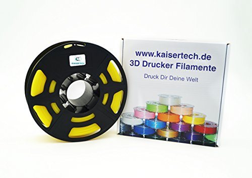 Kaisertech Filament für 3D Drucker 1kg PLA 1.75mm Gelb - Premium Qualität Spule Rolle