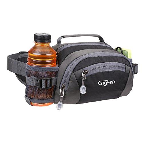 ENGYEN Fanny Pack Waist Bag for Women Men, running packs gear with Phone Water Bottle holder Adjustable belt, for Travel Workout Hiking, carrying iPhone money, multi colors… (black)