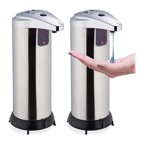 Relaxdays 2 x Seifenspender automatisch, berührungslos, Handseifenspender mit Sensor, Bad, Küche, Edelstahl, 250 ml, Silber