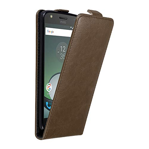 Cadorabo Hülle für Motorola Moto Z Play in Kaffee BRAUN - Handyhülle im Flip Design mit unsichtbarem Magnetverschluss - Hülle Cover Schutzhülle Etui Tasche Book Klapp Style