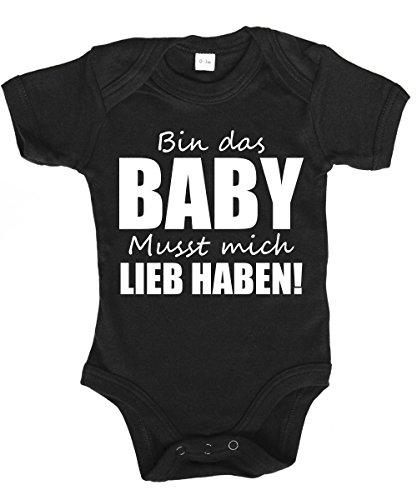 clothinx - Bin das Baby musst Mich Lieb haben - Babybody Schwarz, Größe 0/3 Monate