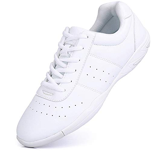 Mfreely Cheer Shoes for Women White Cheerleading Athletic Dance Shoes Flats Tennis Walking Sneakers for Girls White 7.5 B (M) US