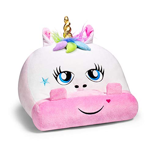 Cuddly Readers Book Stand Cushion Support iPad Tablet eReader Kindle Smartphone Soft Lap Pillow Holder Reading Home Bed Rest Travel Gift Idea Comfort & Stability - Unicorn
