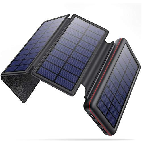 iPosible Chargeur Solaire 26800mAh Imperméable Batterie Externe avec 4 Panneaux Solaires Pliables Power Bank avec 2 USB et 4LED Chargeur Portable pour Smartphone Tablettes Outdoor Camping