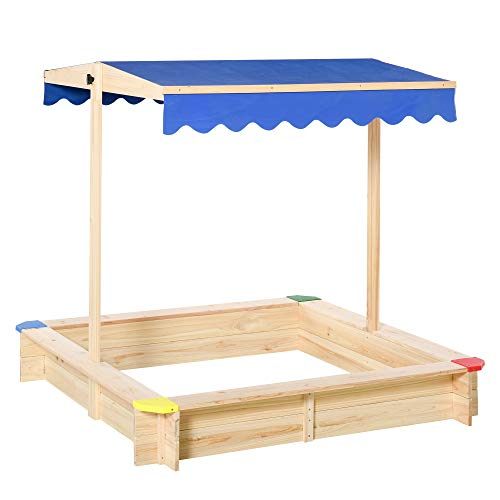 Outsunny Sandkasten Sandkiste Tannenholz Bodenloses Design mit absenkbarem und schwenkbarem Dach Kurbeldach 120 x 120 x 120 cm Natur