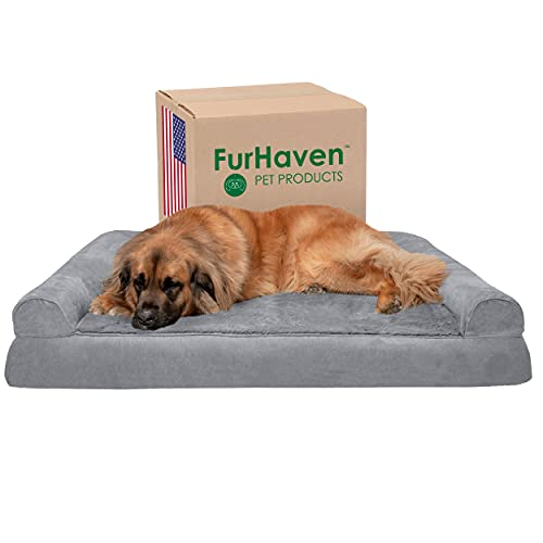 Furhaven Orthopedic Pet Bed for Dogs and Cats - Sofa-Style Plush Fur and Suede Couch Dog Bed with Removable Washable Cover, Gray, Jumbo Plus (XX-Large)