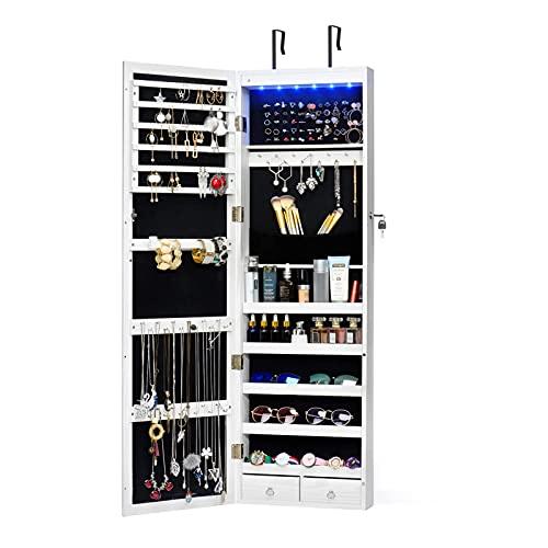 HOUSE DAY Gabinetto di Gioielli 6 LEDs Organizzatore di Gioielli in Armadio con Anta a Muro con Serratura a Specchio montata con Specchio a Figura Intera (Bianco)