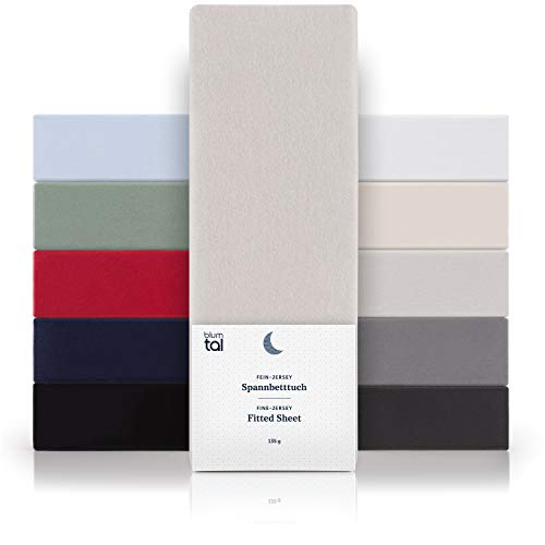 Blumtal Basics Baumwolle Topper Spannbettlaken 180x200cm - 100% Baumwolle Bettlaken, bis 15cm Topperhöhe, Moonlight-Grau