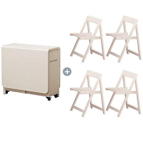Herran Holz Klapp Esstische Und Stühle Wohnzimmer Verwenden Versenkbare Tische Und Stühle Küche Bewegliche Versenkbare Tische Und Stühle, Mit Klapptisch (1,4 M) + 4 Klappstühle