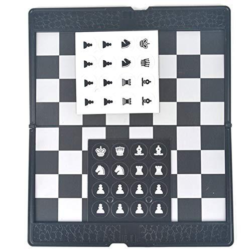 QIAO Juego De Ajedrez, Tablero Ajedrez Magnético, Ajedrez Estilo Cartera En Piel Imitación, Mini Piezas De Ajedrez En Forma De Botón, para Juegos Aire Libre O Regalos (20×17Cm)